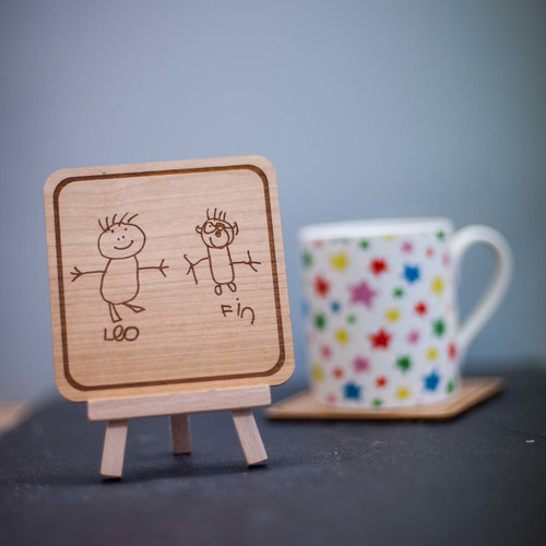 Personalised Square Child's Drawing Coaster and Easel