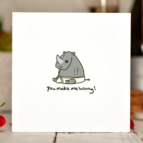 You make me horny - Rhino Card - The Crafty Giraffe