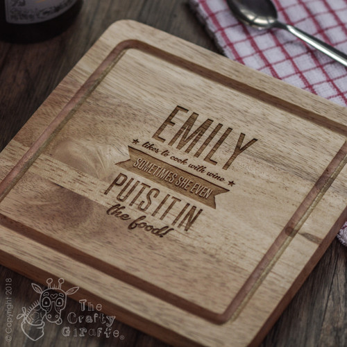 Personalised Likes to Cook with Wine Board - The Crafty Giraffe