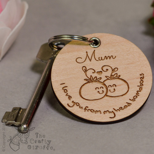 Personalised I love you from my head tomatoes Keyring