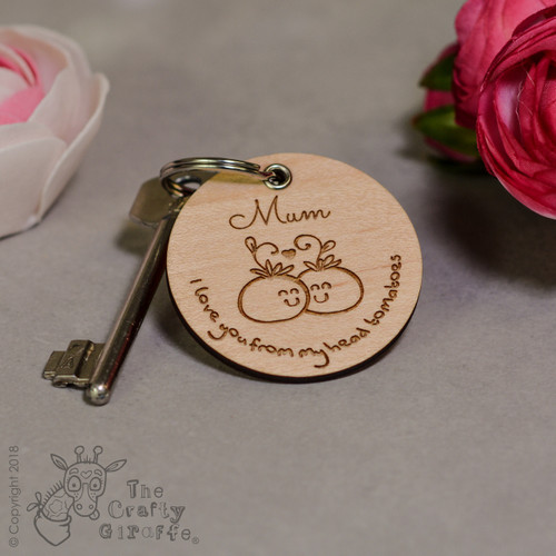 Personalised I love you from my head tomatoes Keyring - The Crafty Giraffe