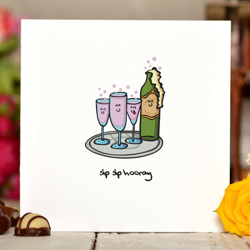 Sip Sip Hooray Card - The Crafty Giraffe