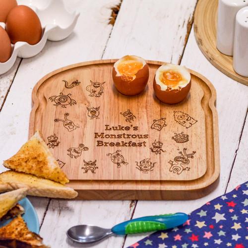 Personalised Breakfast Egg Board - Monster - The Crafty Giraffe