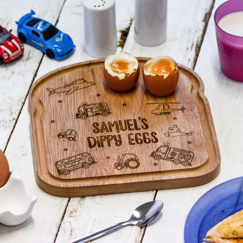 Personalised Breakfast Egg Board - Vehicle - The Crafty Giraffe
