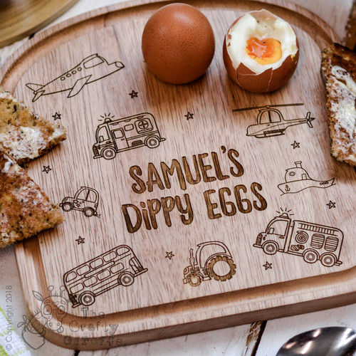 Personalised Breakfast Egg Board - Vehicle