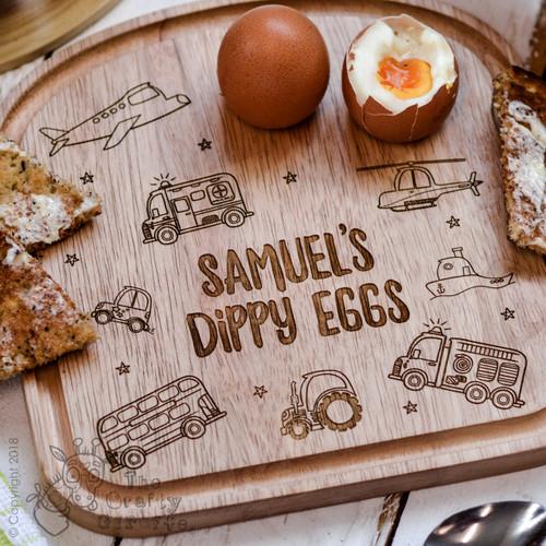 Personalised Breakfast Egg Board - Vehicle