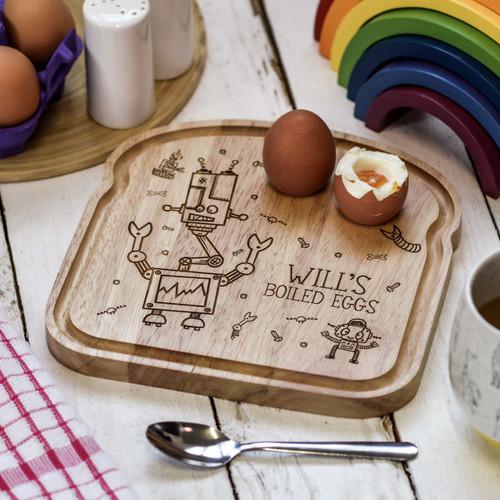 Personalised Breakfast Egg Board - Robot