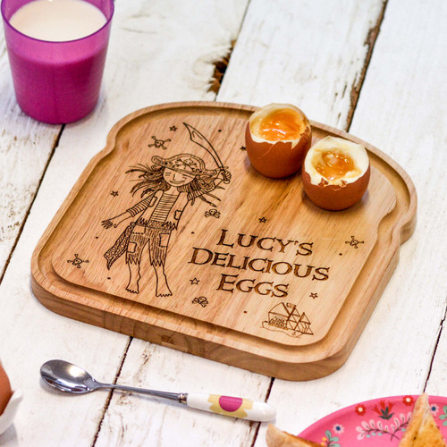 Personalised Breakfast Egg Board - Pirate - Girl - The Crafty Giraffe