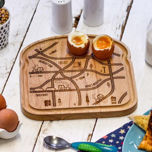 Personalised Breakfast Egg Board - Train Track