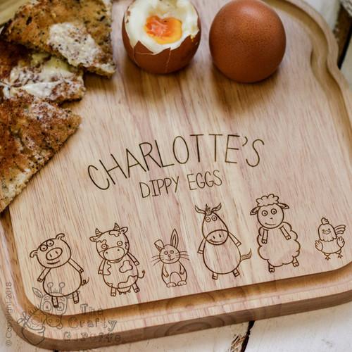 Personalised Breakfast Egg Board - Farm Animals - The Crafty Giraffe