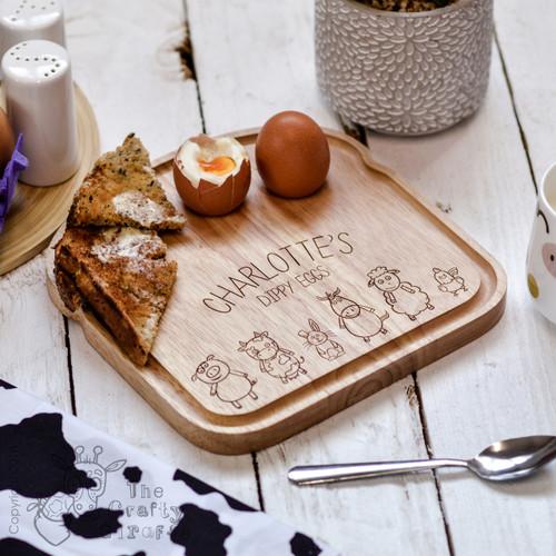 Personalised Breakfast Egg Board - Farm Animals