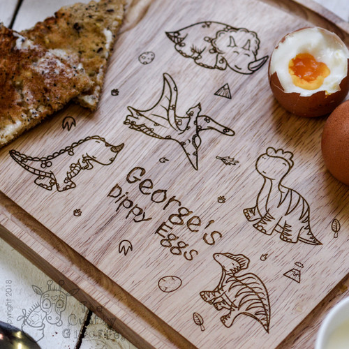 Personalised Breakfast Egg Board - Dinosaurs