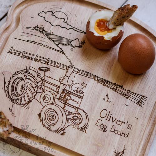 Personalised Breakfast Egg Board - Tractor