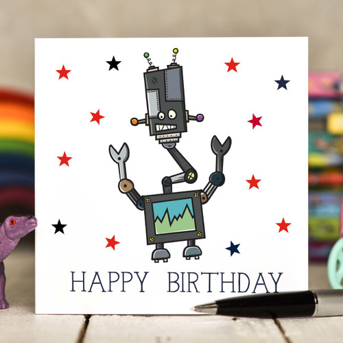 Robot Birthday Card - The Crafty Giraffe