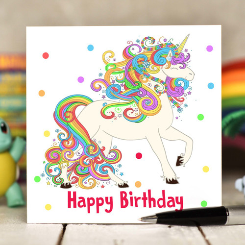 Unicorn Birthday Card - The Crafty Giraffe