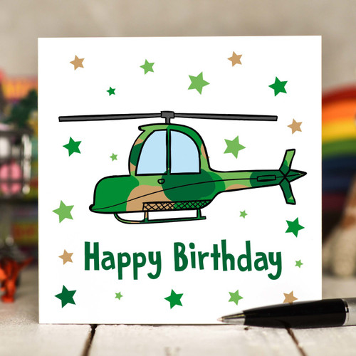 Helicopter Birthday Card - The Crafty Giraffe