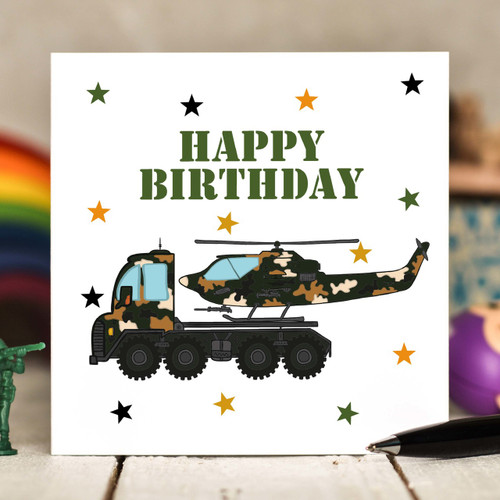 Helicopter Transporter Birthday Card - The Crafty Giraffe