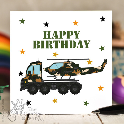 Helicopter Transporter Birthday Card