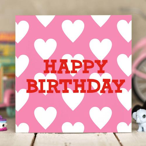 Hearts Birthday Card - The Crafty Giraffe