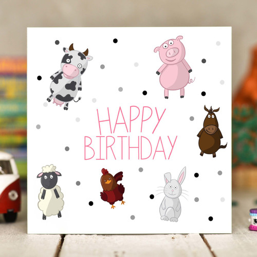 Farm Animals Birthday Card - The Crafty Giraffe