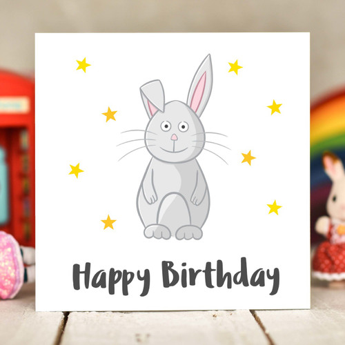 Rabbit Birthday Card - The Crafty Giraffe
