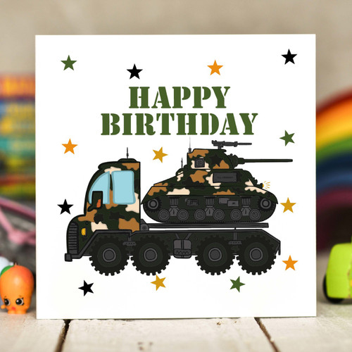 Tank Transporter Birthday Card - The Crafty Giraffe