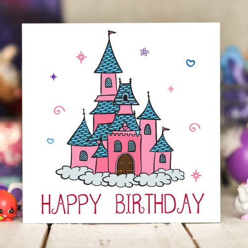 Princess Castle Birthday Card - The Crafty Giraffe