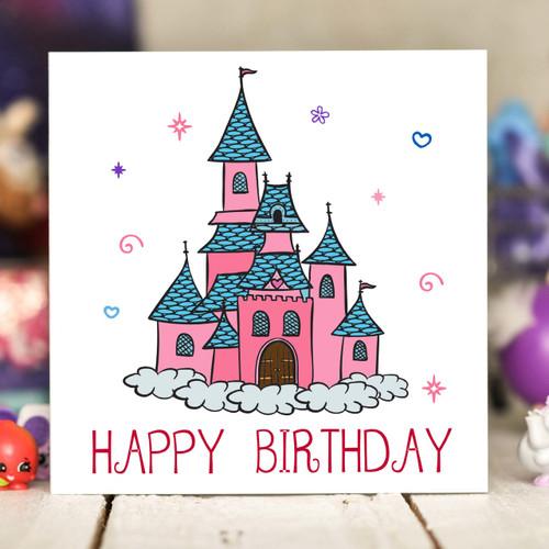 Princess Castle Birthday Card - The Crafty Giraffe