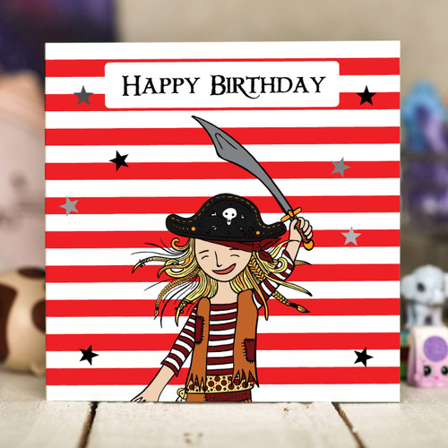 Pirate Girl Birthday Card - The Crafty Giraffe