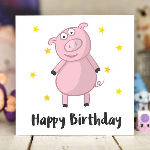Pig Birthday Card - The Crafty Giraffe