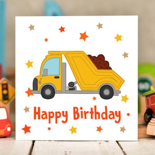 Dumper Truck Birthday Card - The Crafty Giraffe