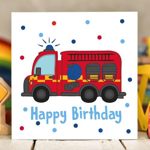 Fire Engine Birthday Card - The Crafty Giraffe