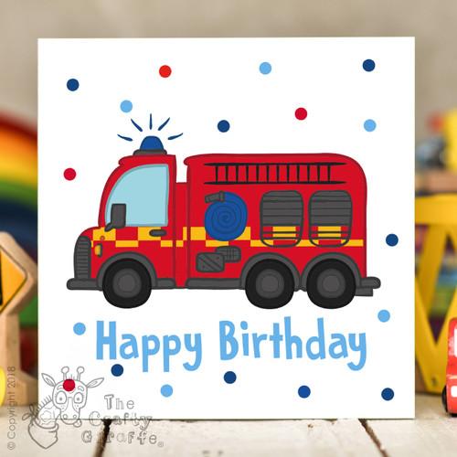 Fire Engine Birthday Card