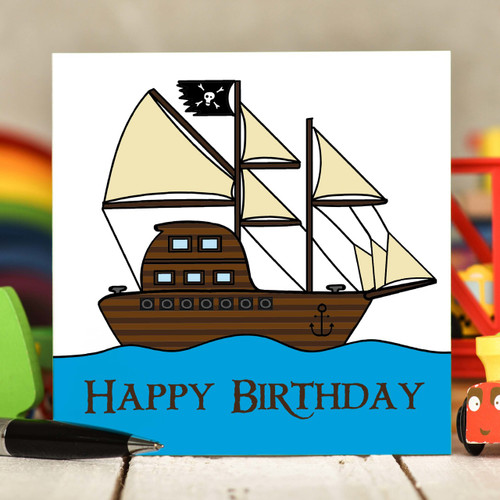 Pirate Ship Birthday Card - The Crafty Giraffe