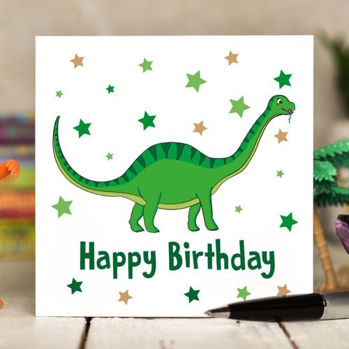 Green Dinosaur Birthday Card - The Crafty Giraffe