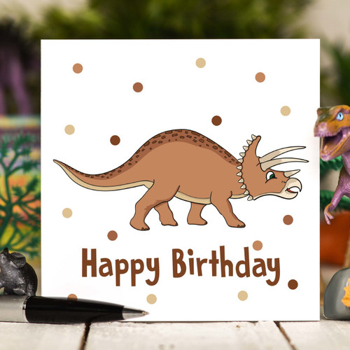 Tricertatops Birthday Card - The Crafty Giraffe