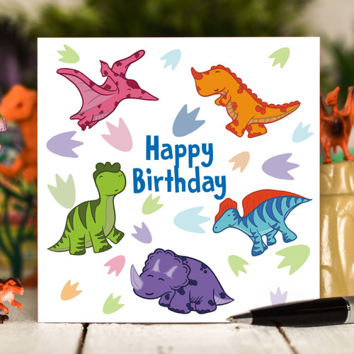 Dinosaur Birthday Card - The Crafty Giraffe
