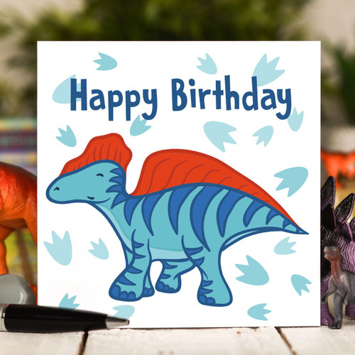 Blue Dinosaur Birthday Card - The Crafty Giraffe