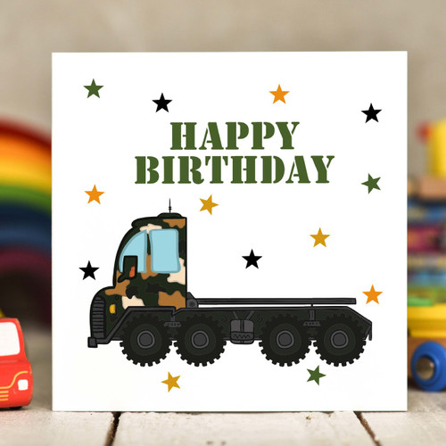 Transporter Birthday Card - The Crafty Giraffe