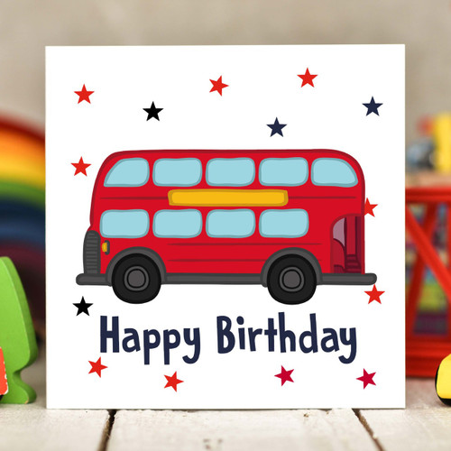 Bus Birthday Card - The Crafty Giraffe