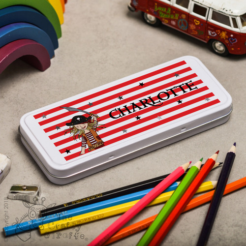 Personalised Pirate Girl Pencil Tin
