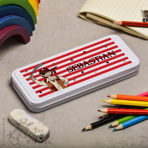Personalised Pirate Boy Pencil Tin