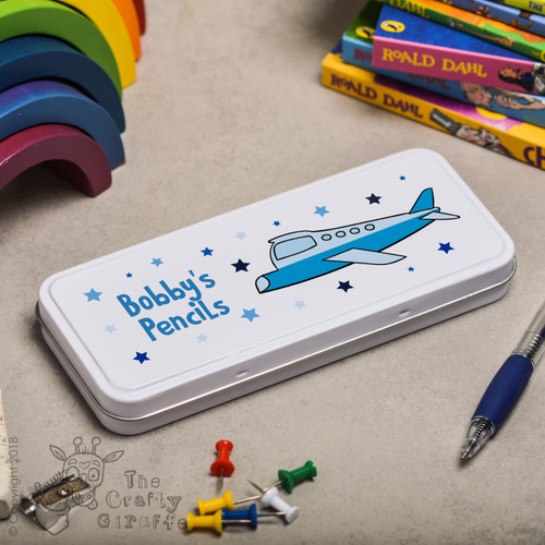 Personalised Plane Pencil Tin