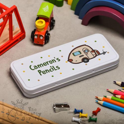 Personalised Caravan Pencil Tin
