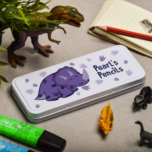 Personalised Purple Triceratops Pencil Tin