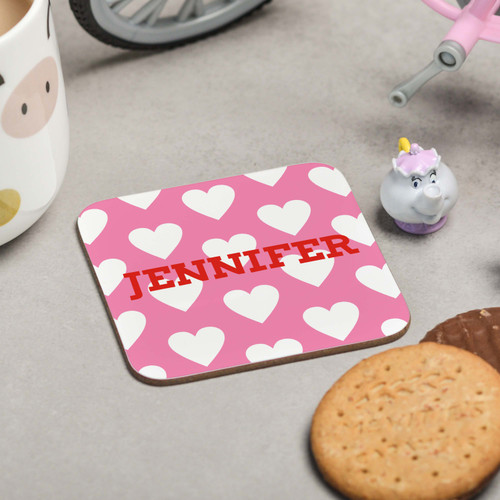 Personalised Hearts Coaster - The Crafty Giraffe