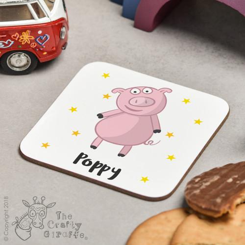 Personalised Pig Coaster