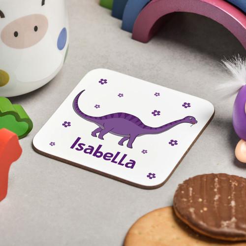 Personalised Purple Dinosaur Coaster - The Crafty Giraffe