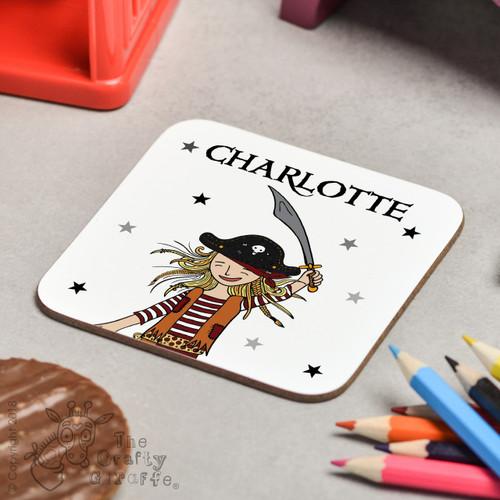 Personalised Pirate Girl Coaster