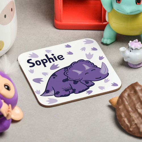 Personalised Purple Triceratops Coaster - The Crafty Giraffe